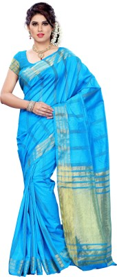 Mimosa Striped Kanjivaram Silk Saree(Light Blue)  available at flipkart for Rs.749