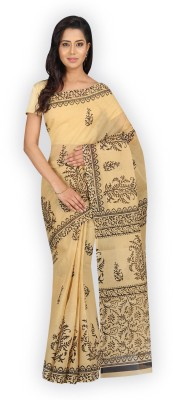 Pavechas Printed Fashion Cotton Blend Saree(Beige) at flipkart