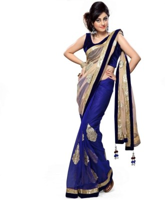 Lime Fashion Solid Fashion Net Saree(Blue, Beige)  available at flipkart for Rs.1499