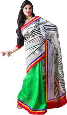 Sunaina Striped Georgette Saree(Multicolor)