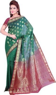 Ishin Printed Fashion Cotton Saree(Green)