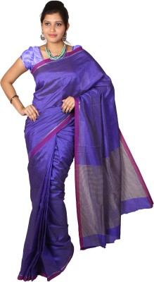 Mimosa Checkered Kanjivaram Handloom Art Silk Saree(Purple)  available at flipkart for Rs.699