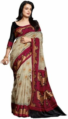 Best Collection Printed Bhagalpuri Pure Silk Saree(Maroon, Beige)  available at flipkart for Rs.499