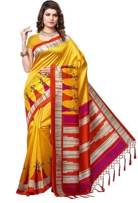 E Vastram Printed Mysore Art Silk Saree Yellow E Vastram Women's Sarees