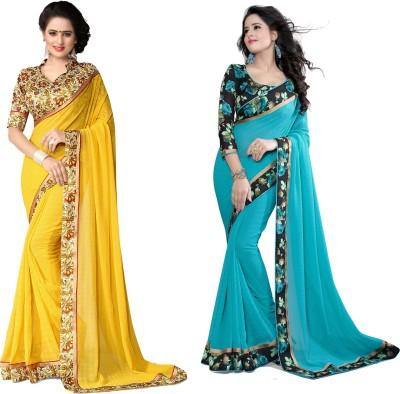 Indianbeauty Printed Fashion Chiffon Saree(Pack of 2, Light Blue, Yellow) Flipkart