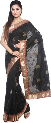 BlackBeauty Embroidered Bollywood Chiffon Saree(Gold, Black) at flipkart