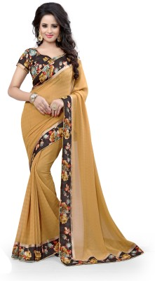 Indianbeauty Printed, Floral Print Fashion Georgette Saree(Beige, Black, Red, Orange)