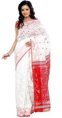 B3Fashion Floral Print Jamdani Handloom Silk Cotton Blend Saree(White, Red)