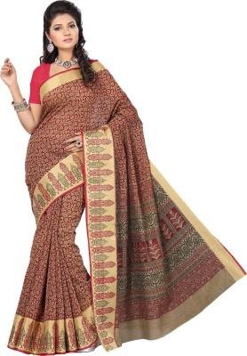 Rani Saahiba Printed Gadwal Cotton Saree(Beige, Maroon)