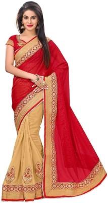 Sargam Fashion Self Design, Embroidered, Embellished Fashion Georgette Saree(Red, Beige)