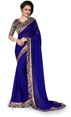 Indianbeauty Solid, Printed Bollywood Chiffon Saree(Blue) Flipkart
