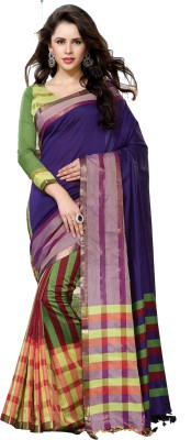 Ishin Striped Fashion Cotton Saree(Multicolor)