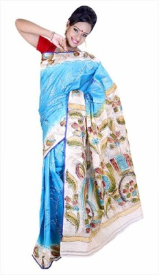 Fashionvibes Solid Murshidabad Handloom Poly Silk Saree(Blue) at flipkart