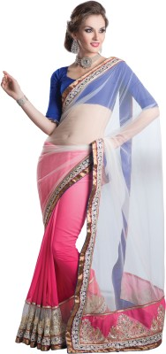 Urjita Creations Self Design Fashion Net, Georgette Saree(White, Pink)