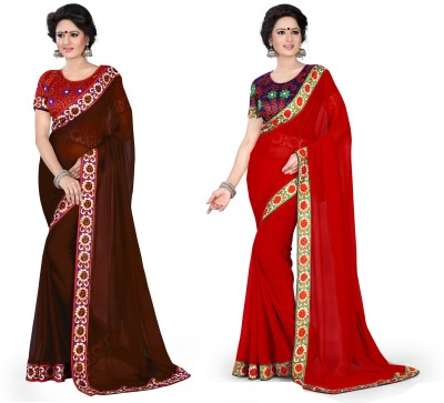 Sarees House Solid, Printed Fashion Chiffon Saree(Pack of 2, Brown, Red)