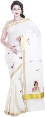 BrindavanSilks Embroidered Fashion Cotton Blend, Polycotton Saree(Beige)