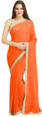 J Milan Embroidered, Solid, Self Design Fashion Georgette Saree(Orange)