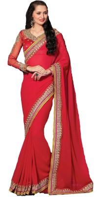 Rajshri Fashions Embroidered Fashion Georgette Saree(Red) Flipkart