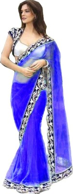 Bollywood Designer Embroidered Fashion Net Saree(Blue)  available at flipkart for Rs.699