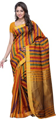 Mimosa Woven Kanjivaram Handloom Banarasi Silk Saree(Gold)  available at flipkart for Rs.699