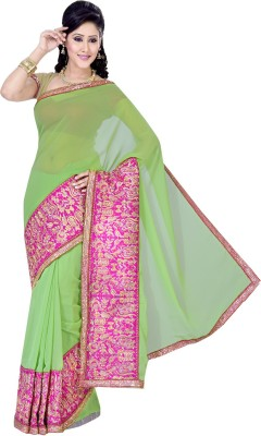 Ishin Embroidered Fashion Chiffon Saree(Green) at flipkart