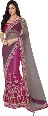 MAHOTSAV Self Design Fashion Net, Satin Saree(Pink)