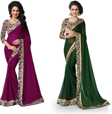 Indianbeauty Printed Fashion Chiffon Saree(Pack of 2, Dark Green, Purple) Flipkart