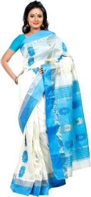 B3Fashion Self Design Garad Handloom Silk Saree(White, Blue)