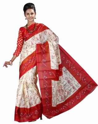 Anushree Saree Self Design Fashion Silk Saree(Red)