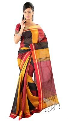 Hawai Solid Fashion Silk Cotton Blend Saree(Multicolor)
