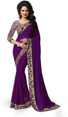 Indianbeauty Solid, Printed Bollywood Chiffon Saree(Purple) Flipkart