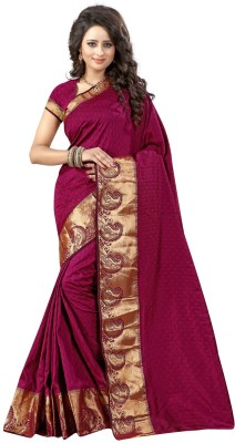 Viha Printed Banarasi Cotton Saree(Maroon, Blue)