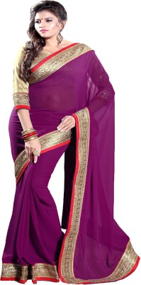 Sourbh Sarees Self Design Fashion Synthetic Georgette Saree(Magenta)