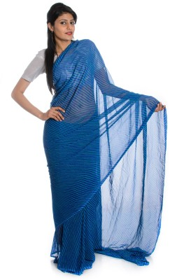 Aaradhya Fashion Printed Leheria Handloom Georgette saree(Blue)  available at flipkart for Rs.1510
