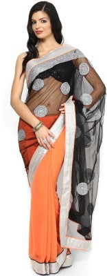 AVR FASHIONS Embroidered Bollywood Georgette Saree(Orange)