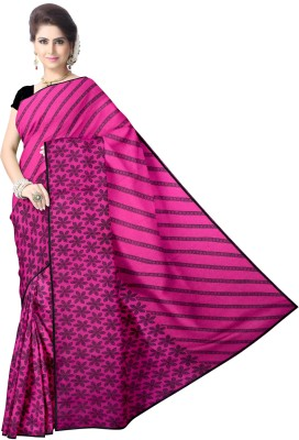 Avik Creations Printed Fashion Chiffon, Georgette Saree(Pink, Black)