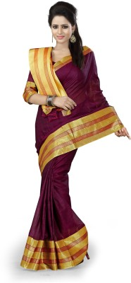 Ishin Solid Fashion Cotton Saree(Maroon)