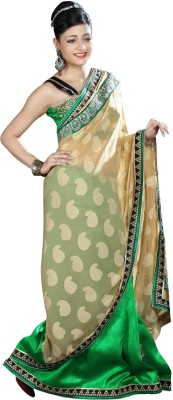 Shubham Fashions Self Design Fashion Georgette Saree(Beige, Green)