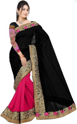 Aashvi Creation Embroidered Fashion Georgette Saree(Black, Pink)