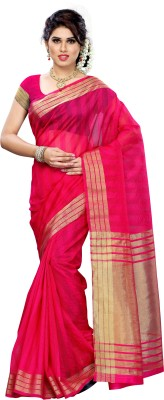 Mimosa Woven Kanjivaram Silk Saree(Pink)  available at flipkart for Rs.749
