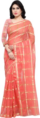Rajnandini Checkered Fashion Cotton Saree(Pink, Gold)