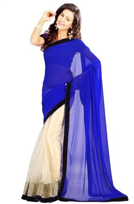 Bollywood Designer Solid Fashion Net Saree(Light Blue)  available at flipkart for Rs.496