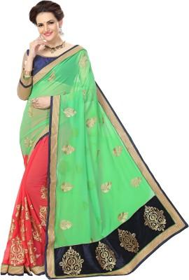 Amar Enterprise Embroidered Bollywood Georgette Saree(Green, Orange)
