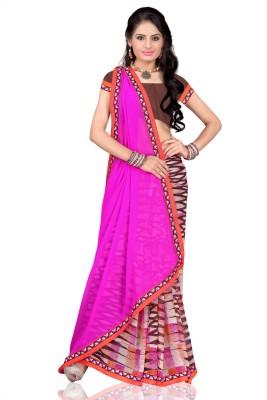 Vardan Prints Printed Bollywood Chiffon Saree(Purple, Brown) Flipkart
