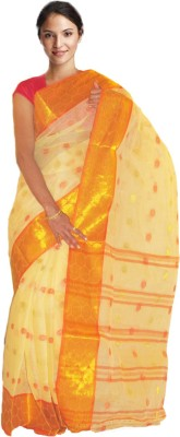 Loom&Crafts Printed Tant Handloom Cotton Saree(Yellow)
