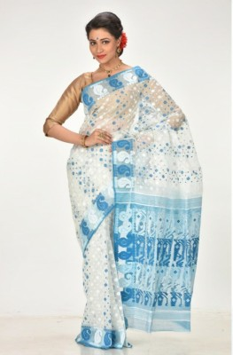 Subhadra Embroidered Jamdani Handloom Silk Cotton Blend, Cotton Blend Saree(Light Blue, White) at flipkart