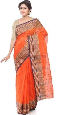 B3Fashion Self Design Tant Handloom Cotton Saree(Orange, Blue)