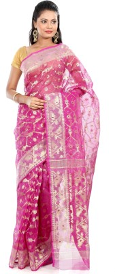 B3Fashion Self Design Jamdani Cotton Saree(Pink)