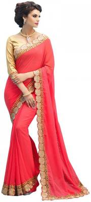 Decent International Embroidered Bollywood Georgette Saree