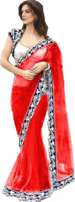 Bollywood Designer Embroidered Fashion Net Saree(Red)  available at flipkart for Rs.778